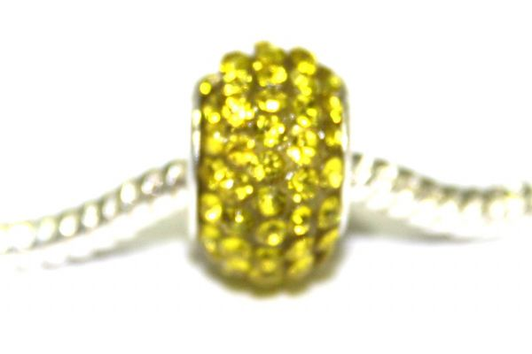 Bright Yellow 12mm x 8mm pave crystal bead with 5mm hole PD-S-12- 16